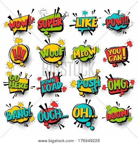 Big set comic font bubble effects template. Speech chat bubbles ...