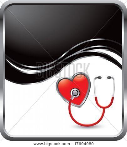 stethoscope on black wave backdrop