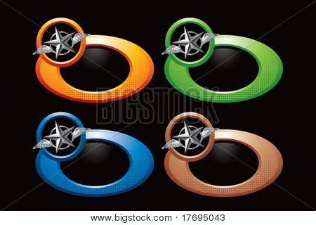 estrela de prata voando sobre modelos de anel circular