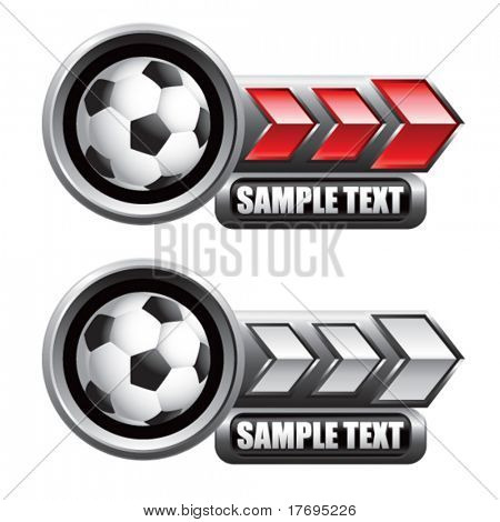 soccer ball on glossy arrow web button