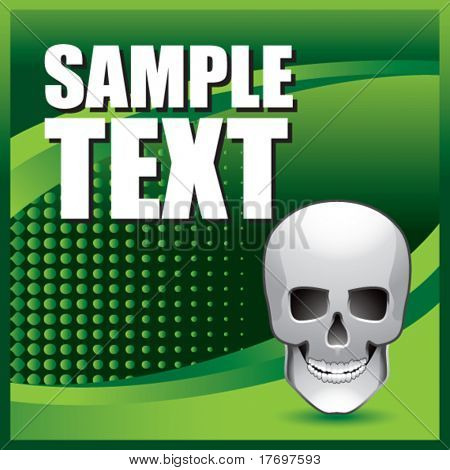 scary skull on green halftone banner