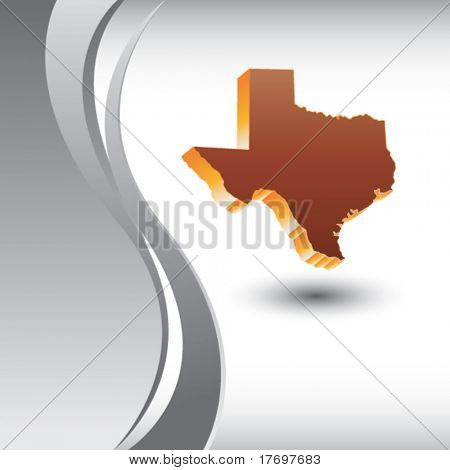 texas state on gray vertical wave background