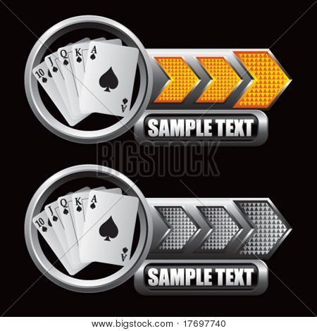 playing cards on silver and gold arrow buttons