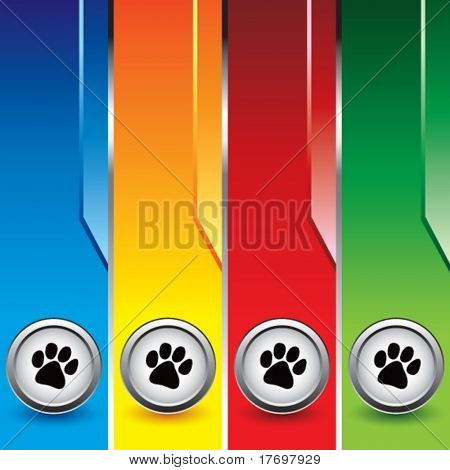 paw print icon on vertical colored banners