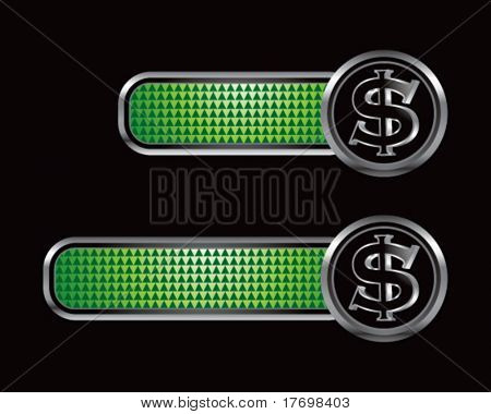 dollar sign on green checkered tabs