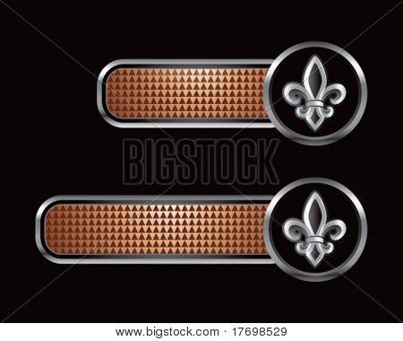 fleur de lis on checkered brown tabs
