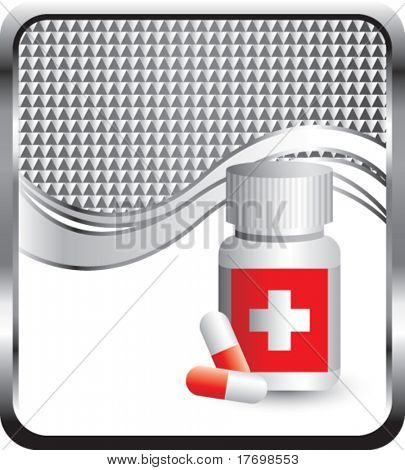 medicine bottle and checkered wave background