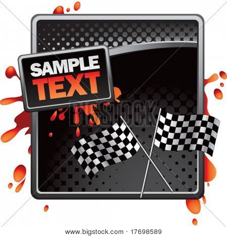 racing checkered flags on grungy splattered background
