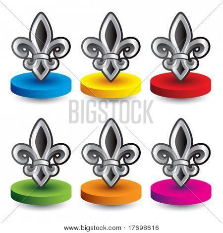fleur de lis symbol on colored discs