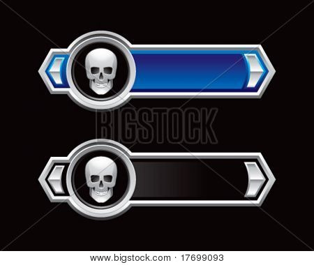 skull head banners colored blue