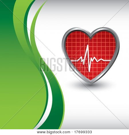 heart beat with vertical wave backdrop