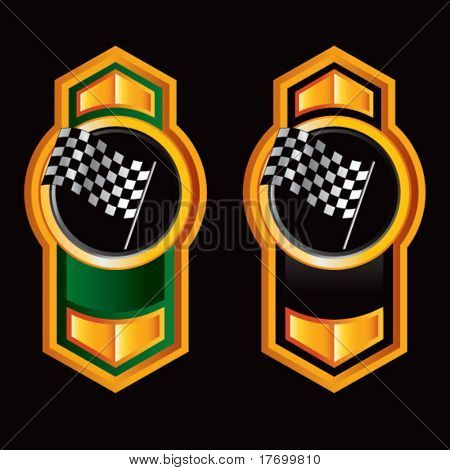 racing checkered flag on royal crest