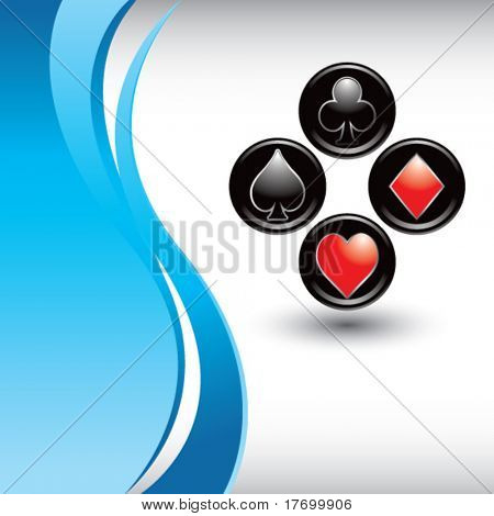 playing card suits on vertical blue wave background