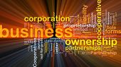 Background concept wordcloud illustration of business corporation ownership glowing light