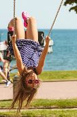 Постер, плакат: Playful Crazy Girl On Swing