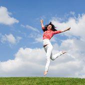 Постер, плакат: хорошенькая молодая женщина прыжки на зеленой траве