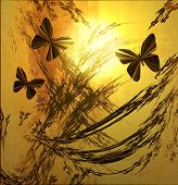 Butterflies  On Golden Sunset Grunge