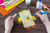 The Child Draws Details Of Gift Items. Childrens Easter Gift Toy Chicken And Easter Bunny. Hand-mad poster