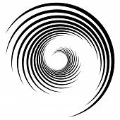 Abstract Geometric Spiral, Ripple Element With Circular, Concentric Lines. Abstract Monochrome Eleme poster