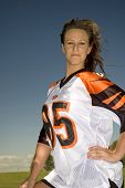 picture of hottie  - A young hottie wearing a football jersey - JPG