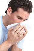 picture of snot  - Young man having flu or allergy - JPG