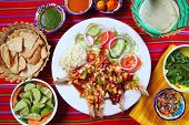 pic of poblano  - Guajillo chili shrimps Mexican dish chili sauces nachos  Mexico seafood - JPG