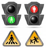 pic of traffic light  - traffic light with road sign - JPG
