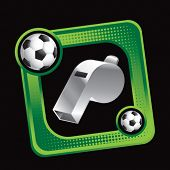 green sports display box featuring footballs and referee whistle