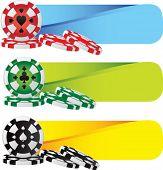 Постер, плакат: фишки для покера на цветные баннеры
