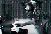 technology, gaming, entertainment and people concept - young man in headset and glasses with pc comp poster
