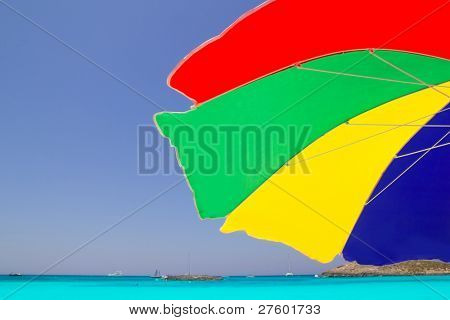 Colorful sunroof in Formentera tropical beach of illetes at Spain