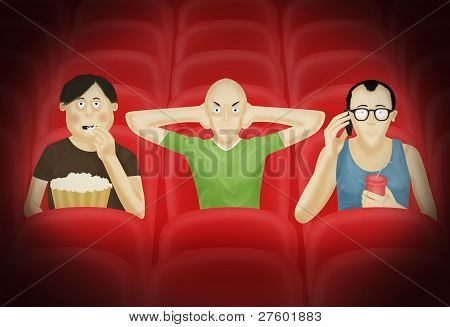 Three men in a cinema