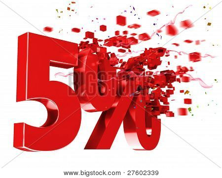 Explosive 5 Percent Off On White Background