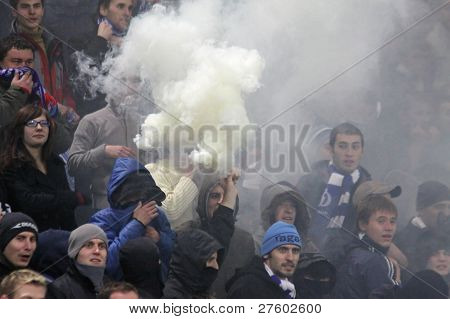 Fc Dynamo Kyiv Ultras (ultra Supporters) Perform