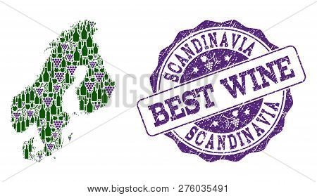 poster of Vector Collage Of Grape Wine Map Of Scandinavia And Grunge Stamp For Best Wine. Map Of Scandinavia C