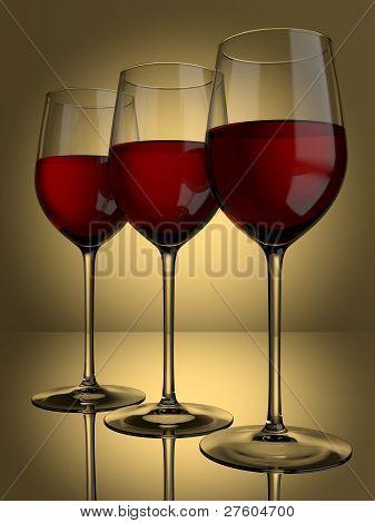 3 Red Wine Glasses