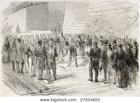 Napoleon III dock inauguration in Cherbourg. Created by Godefroy-Durand after Gaildrau, published on L'Illustration, Journal Universel, Paris, 1858