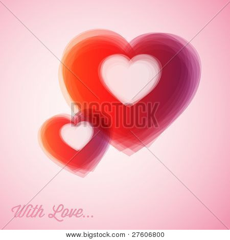 Overlapping Vector red hearts - Valentines card