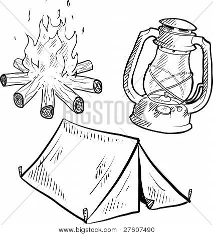 Camping equipment sketch