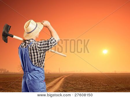 A male farmer holding a shovel and looking at a sunset