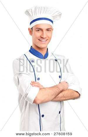 Portrait of smiling chef isolated on white background