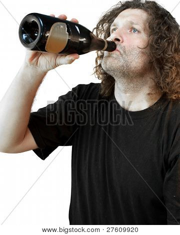 The image of drunkard under the white background