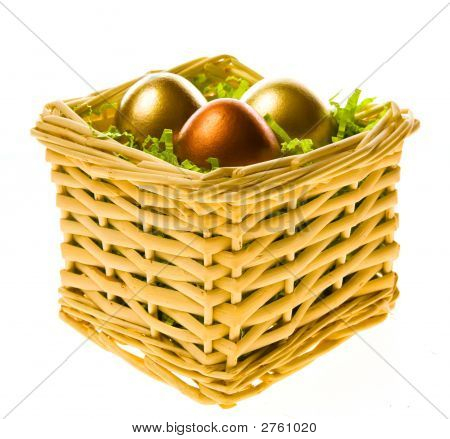 Easter Basket With Gold Eggs