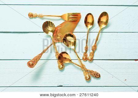 Golden Pastry Fork
