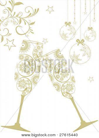 Tarjeta con bolas de Navidad y Copa de champán en flores colgantes de felicitación, Fondo de las estrellas para Chris