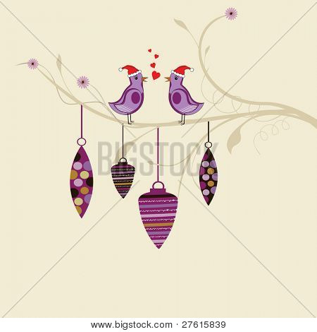 Retro card with cute love birds wearing Santa Cap and floral design with hanging decorative ornaments for Christmas & other occasions.