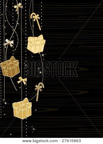 Christmas holiday card with hanging gift boxes,candy bow,stars in golden color on black line background for Christmas & other occasions.