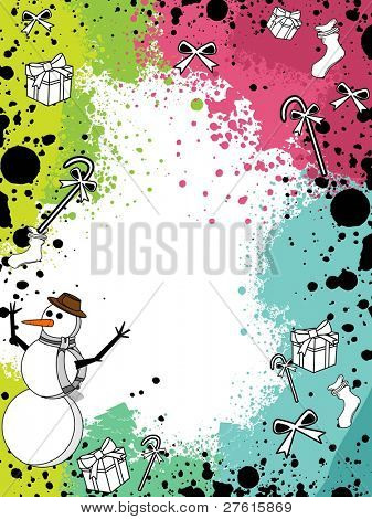 Colorful grunge with Christmas ornaments like snow man,gift box,candy,bow and socks for Christmas & other occasions.