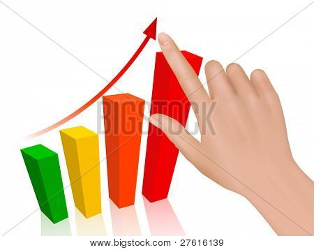 Hand with graph. Concept of success. Vector.