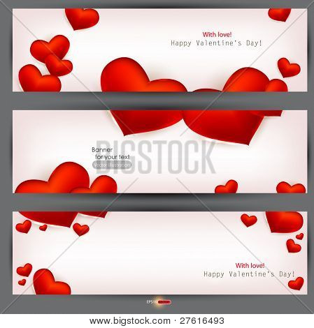 Set of three banners with red hearts. Valentine's Day. Vector background